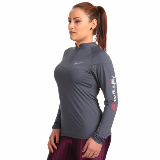 Camiseta Feminina Fishing Co Ziper - G Cinza Clip